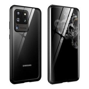 Image 1 - Magnetische Flip Case Voor Samsung Galaxy S20 Ultra S20 Plus Case Dubbelzijdig Gehard Glas Bumper Cover Voor Samsung s20 S 20 Capa
