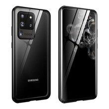 Manyetik Flip Case Samsung Galaxy S20 Ultra S20 artı durumda çift taraflı temperli cam tampon kapak için Samsung s20 S 20 çapa