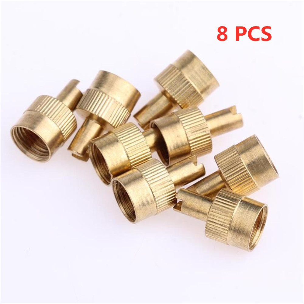 8Pcs/Lot Copper Slotted Head Car Motorcycle Tire Valve Stem Caps With Valve Core Remover Tool Metal Tyre Wheel Parts Accessories
