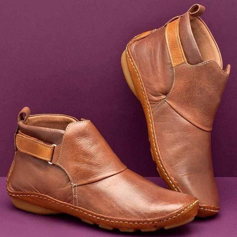 2019 deri yarım çizmeler sonbahar Vintage Lace Up kadın ayakkabı rahat düz topuk çizmeler kadın fermuar kısa çizmeler Dropshipping