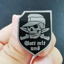 Broche Gott Mit Uns (dieu avec nous), Badge de l'infanterie allemande, décor de couteau crâne