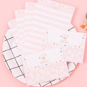 Image 5 - Lote de 30 unidades de Mini tarjetas de felicitación de dibujos animados Kawaii, juego de papel de carta, diseño de cuatro letras, 92x135mm