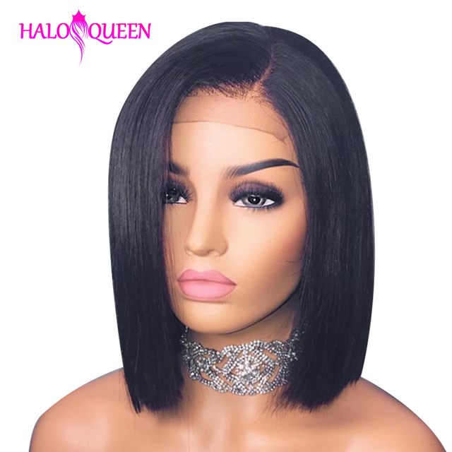 HALOQUEEN Remy prosta peruka z naturalnych krótkich włosów 13x4 koronkowa peruka z przodu prosto Bob koronkowa peruka z przodu koronkowa peruka z ludzkich włosów