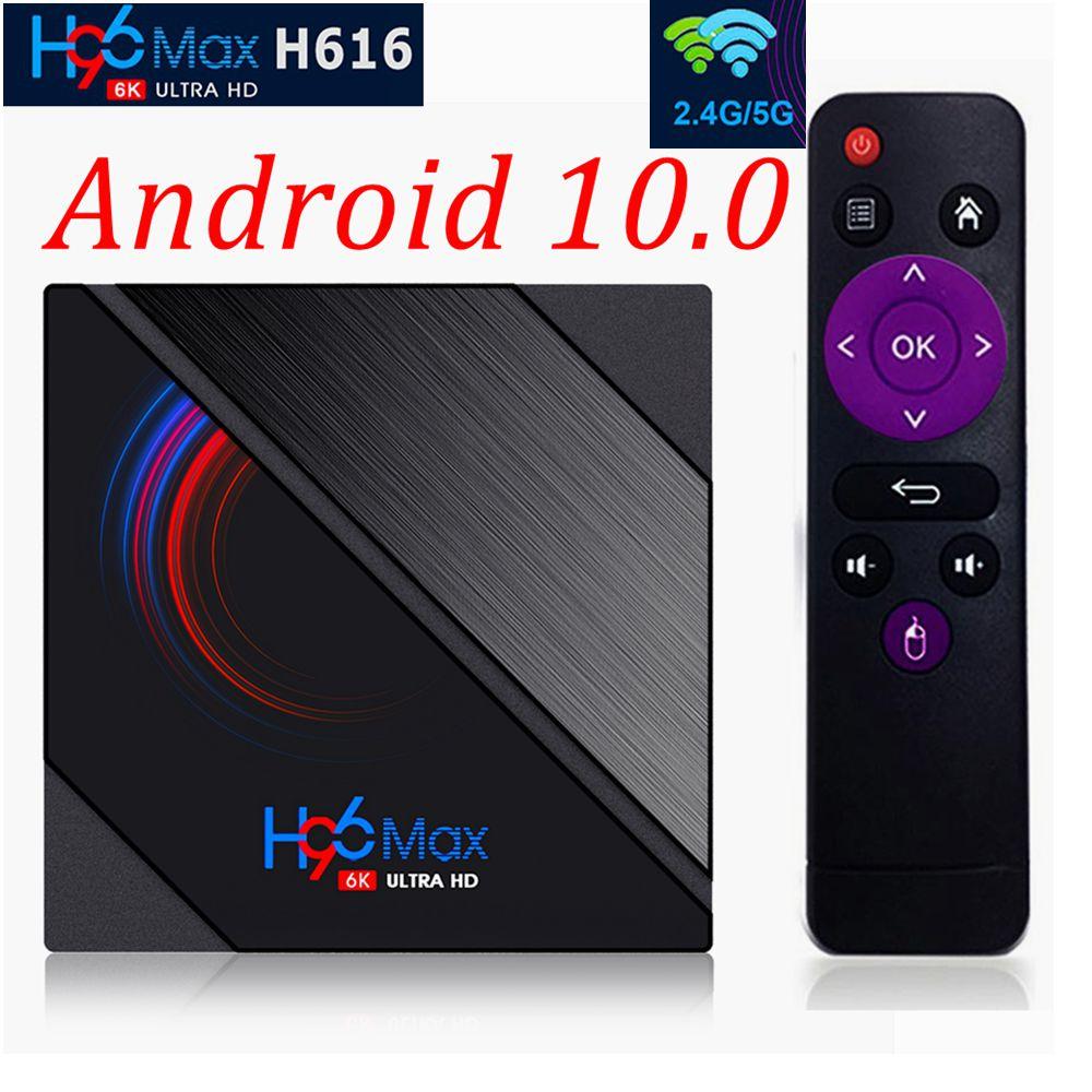 Núcleo máximo 4gb 32gb 64gb 2.4g & 5g duplo wifi bluetooth 4.0 6k ultra hd media player h616 do quadrilátero da caixa da tevê de h96 android 10 allwinner