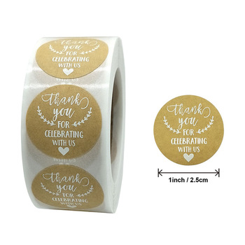 500pcs Round Labels Kraft Paper Thank You Sticker Dragees Candy Bag Flower Gift Box Cake Boxes and Packaging Wedding Stickers image