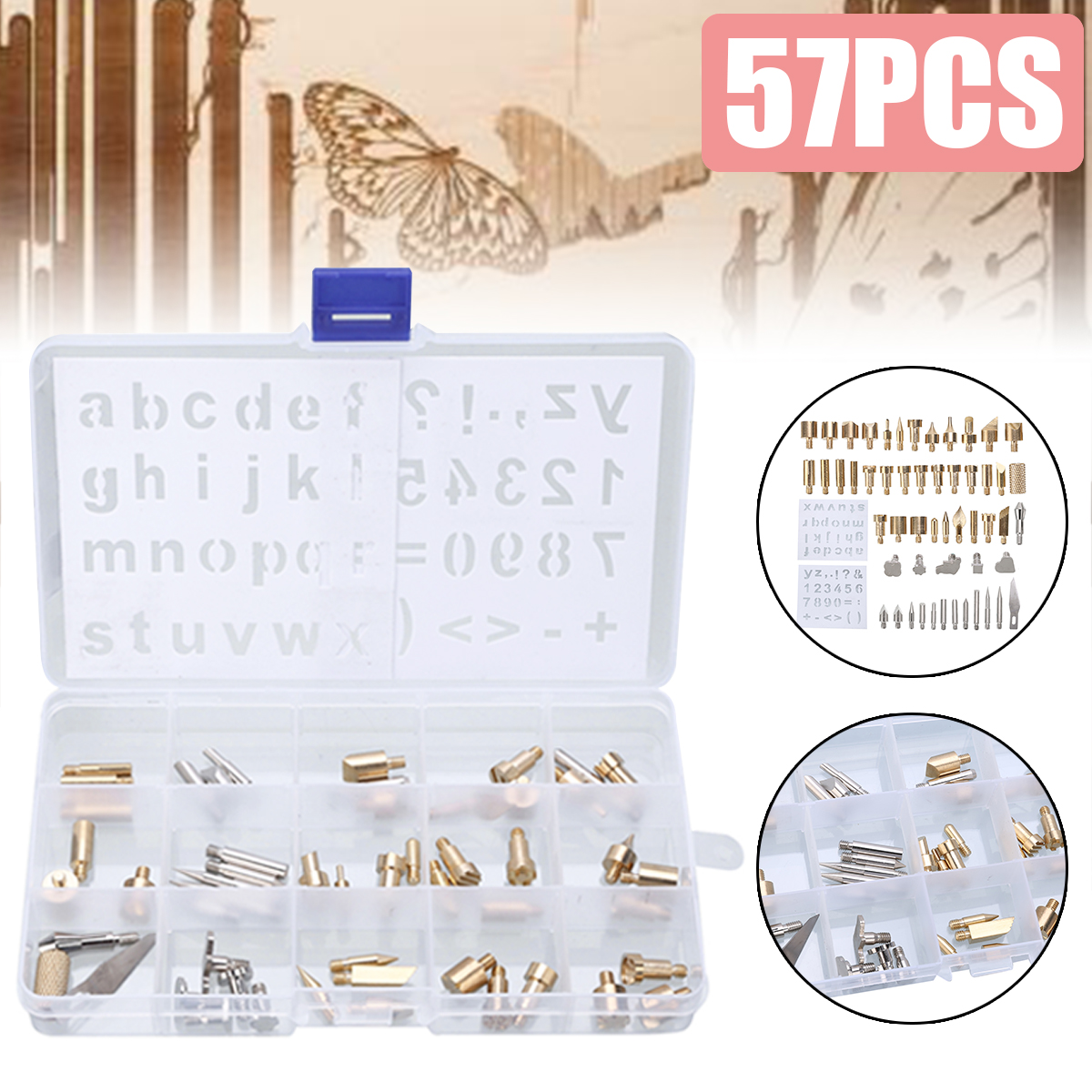 57pcs Electric Soldering Iron Kit Wood Burning Pen Tip Pyrography Craft Tool Engraver Set For Woodworking Soldering