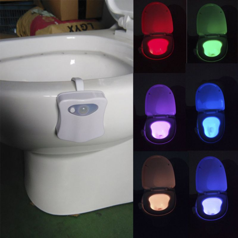 Smart PIR Motion Sensor Toilet Seat Night Light 8 Colors Energy Saving Practical Bathroom Induction LED Toilet Night Light in LED Night Lights from Lights Lighting