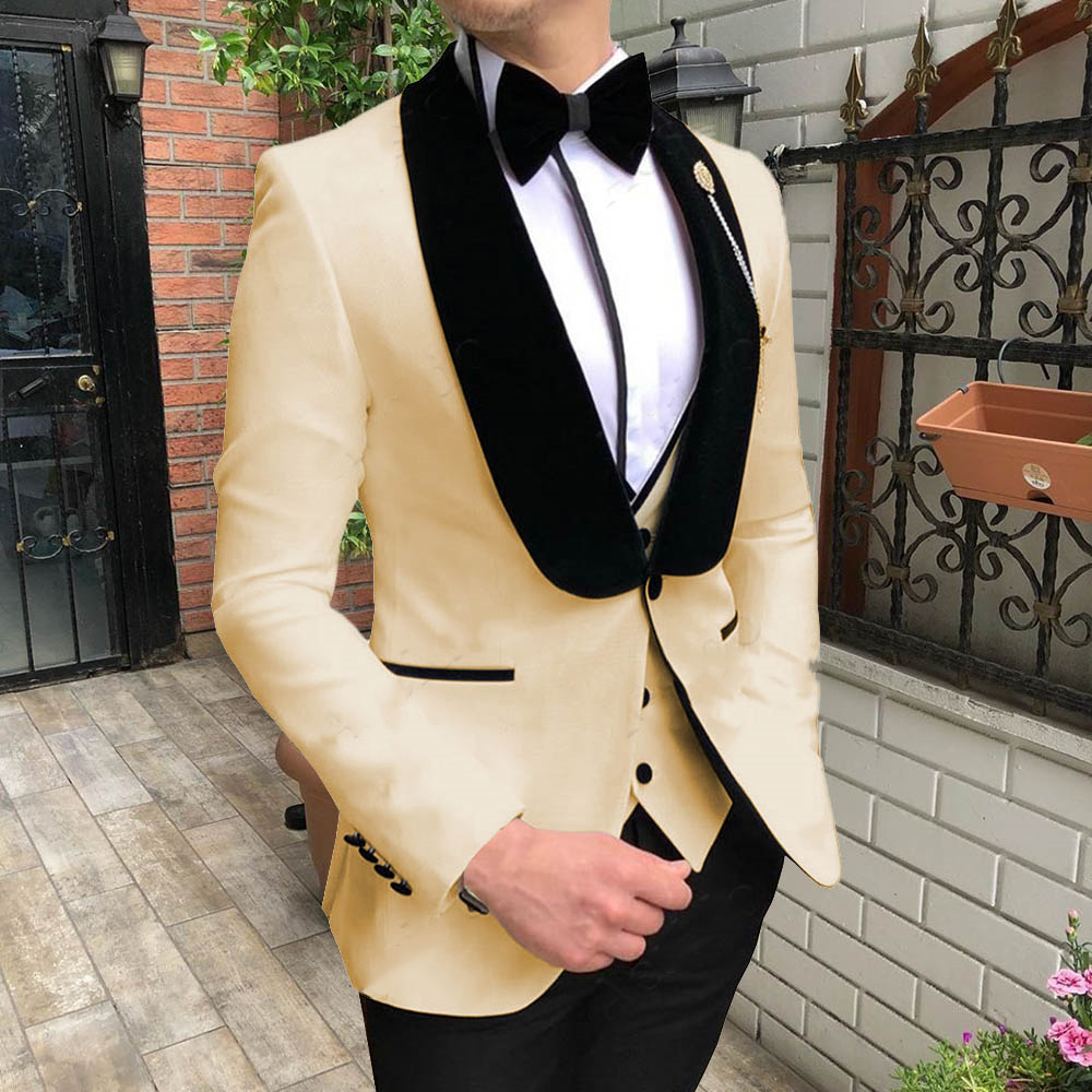 Yellow With Black Lapel Suits For Men Custom Made Terno Slim Groom Custom 3 Piece Wedding Mens Suit Masculino(Jacket+Pant+Vest)