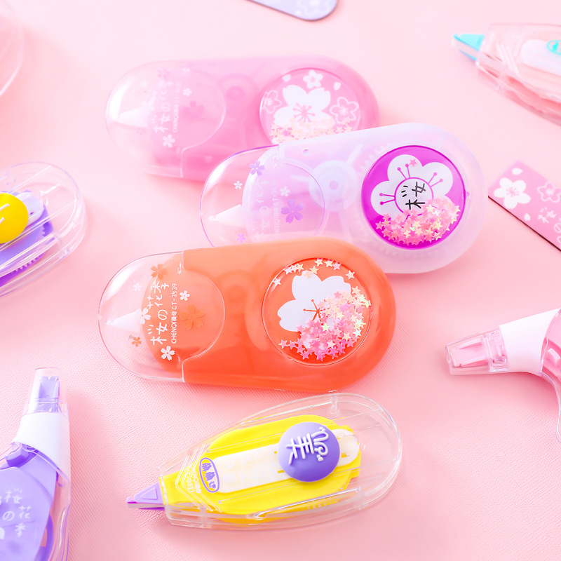1 PCS Cute Kawaii Correction Tape Quicksand Cherry Blossom Correction Tape Kawaii Student Office School Supplies Stationery