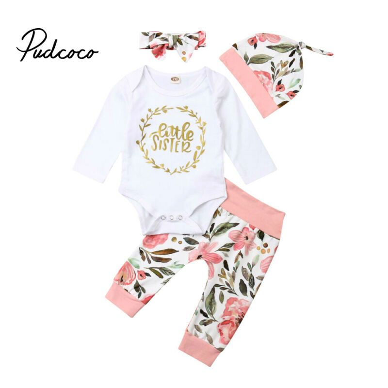 Brand Baby Girls ClothesToddler Long Sleeve Letter Bodysuit Flower Pants Bow Headband Hat 4pcs Kids Cotton Lovely Autumn Outfits