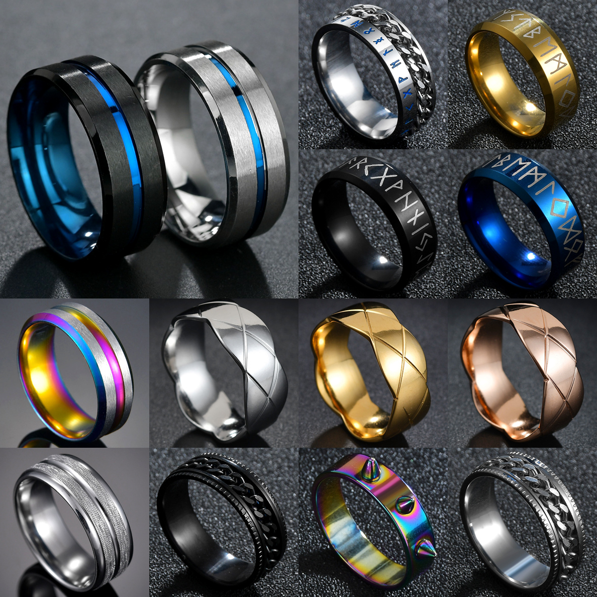 Горячая Распродажа 8 мм паз кольца черный/синий Нержавеющаясталь миди кольца для Для мужчин браслеты с подвесками мужской ювелирные издел...