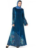 Turkey Islamic Clothing Velvet Muslim Dress Women Abaya Kaftan Kimono Long Robe Jubah Elbise Dubai Moroccan Arabic Hijab Dresses