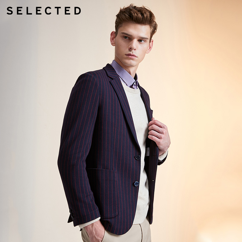 SELECTED Men's Striped Knit Suit Jacket |419408503