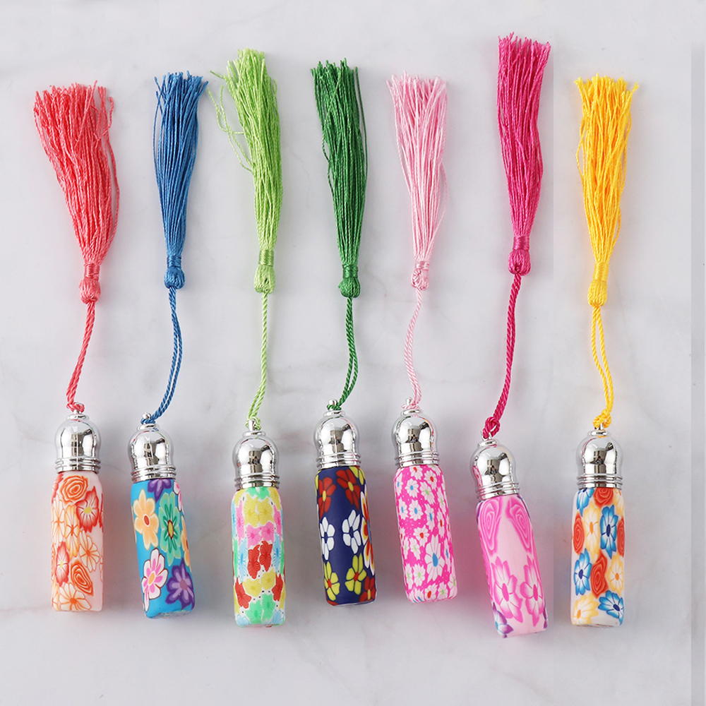 1Pc Glass Perfume Roll On Bottle With Glass Ball Polymer Clay Roller Essential Oil Bottle Many Patterns Portable Hanging Pendant