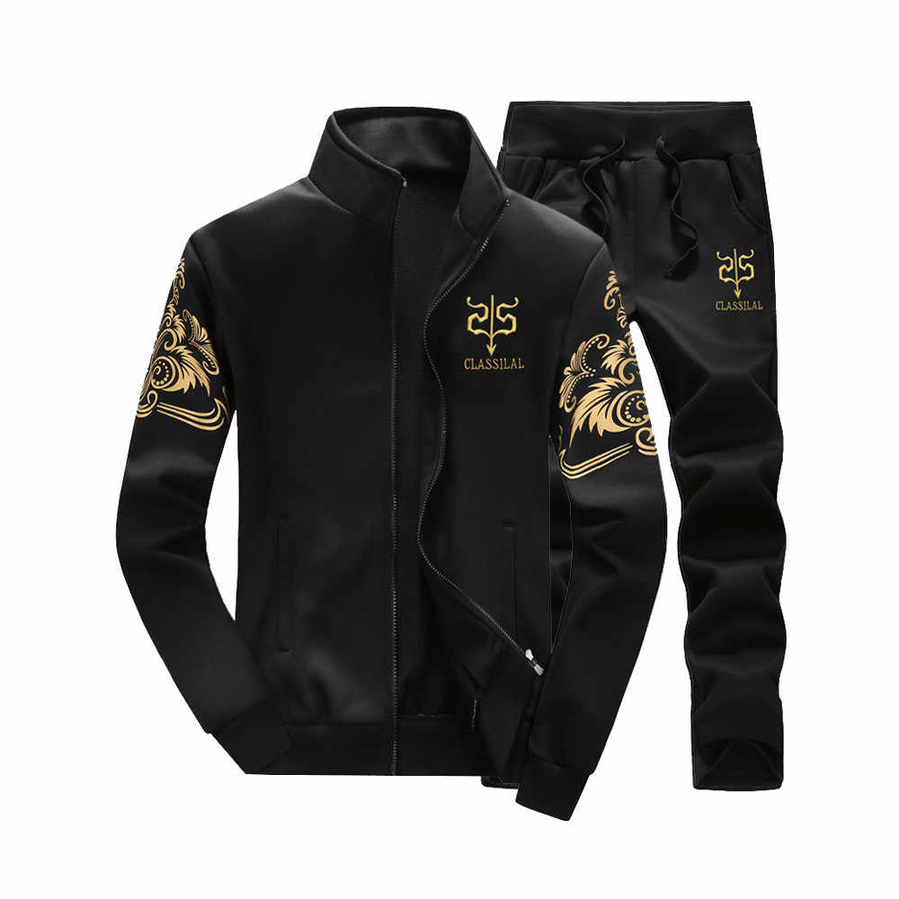 Men Tracksuit Outerwear Hoodie Set 2 Pieces Autumn Sporting Track Suit Male Fitness Stand Collar Sweatshirts Jacket + Pants Sets