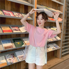 2019 Patchwork Mesh rainbow Gradient Summer Women T shirt Short Sleeve Cartoon Embroidery Fake two Piece harajuku Pink White Tee