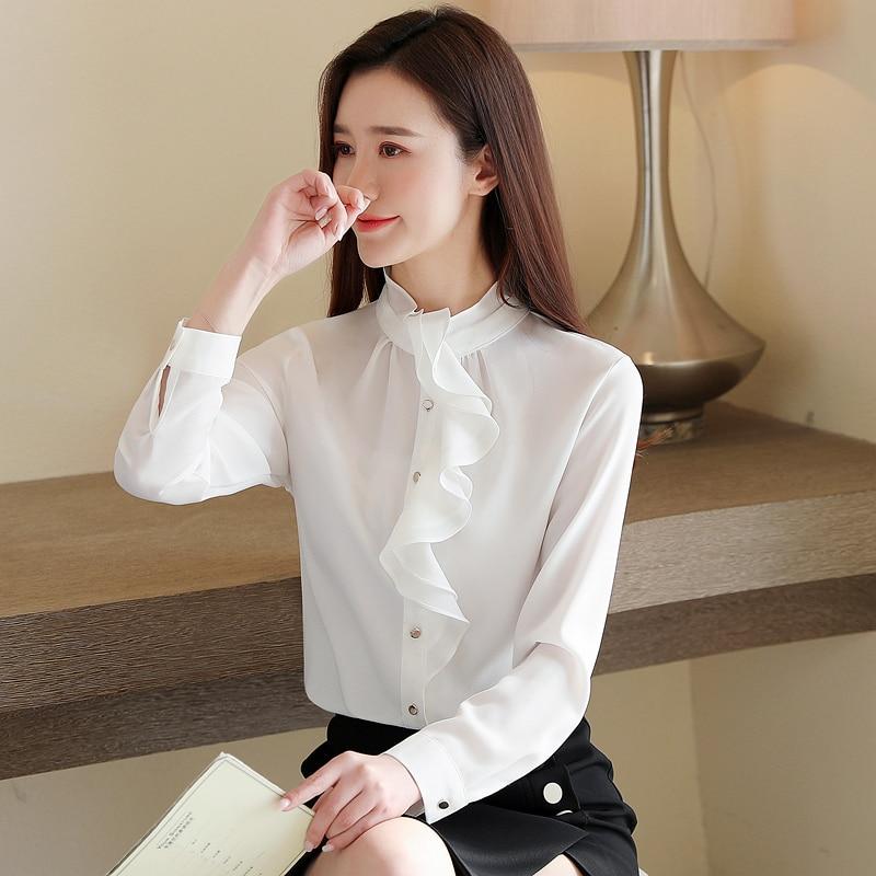 Fashion Spring Women Blouses Chiffon Women Shirts Ruffles Plus Size Womens Tops and Blouses Pink Blusas Femininas Elegante 6