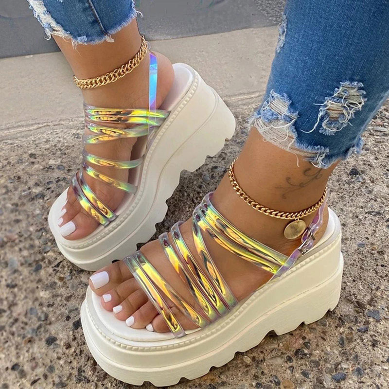 Women Sandals Narrow Band Flat Platform Ladies Ankle Buckle Strap Female Shoes Summer Mujer Sandalias 2020 Casual Plus Size