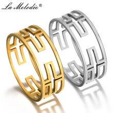 New Men Women Gold Silver 316L Stainless Steel Ring Jesus Christ Hollow Crosses Pattern Finger Ring for Christians Rings shiying jz014 men s stylish 316l stainless steel ring silver