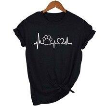 Paw Heartbeat Lifeline Women Tshirt Dog Paw Printed O-Neck Short T-Shirts Pink Black Top Shirts Girl Younger Love