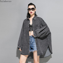 long coat women 2019 Autumn Gray Denim Jacket loose size side slit Jacket female Z40 недорого