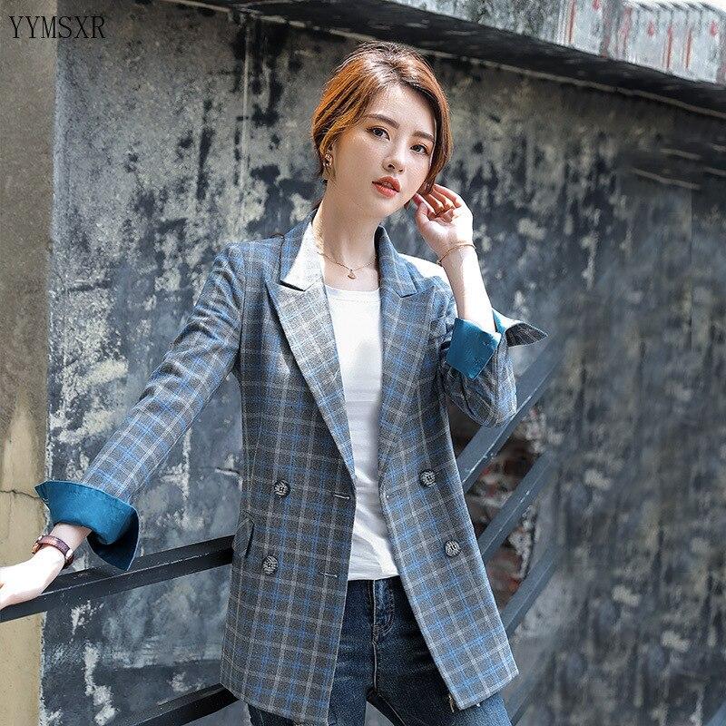 Женский пиджак, элегантный повседневный пиджак в клетку, Осень зима 2020 Пиджаки      АлиЭкспресс