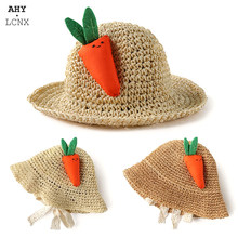 Summer Kids Straw Hat Princess Cap Lovely Carrot Baby Girl Sun Hats Beach Cap Toddler Children Photography props 3-7Y(China)