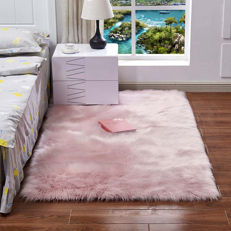 Super Soft Rectangle Faux Sheepskin Fur Area Rugs For Bedroom Floor Shaggy Silky Plush Carpet White Faux Fur Rug Bedside Rugs