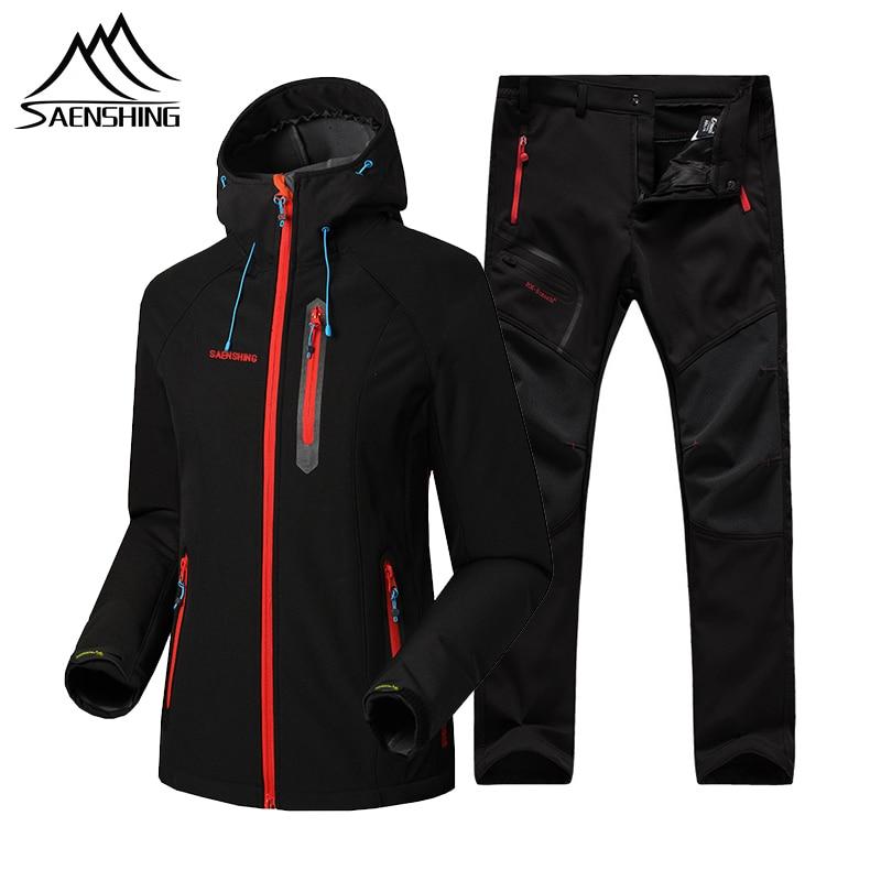 SAENSHING Women Softshell Fleece Jacket Set Winter Waterproof Warm Outdoor Hiking Trekking Camping Jacket+Pants Climb Sport Suit