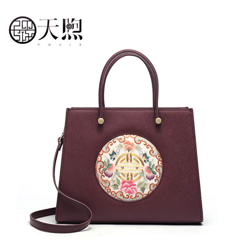 Pmsix 2020 New Embroidery Floral clutch Handbags Large capacity wine red Women Shoulder Bag tote women leather women bag
