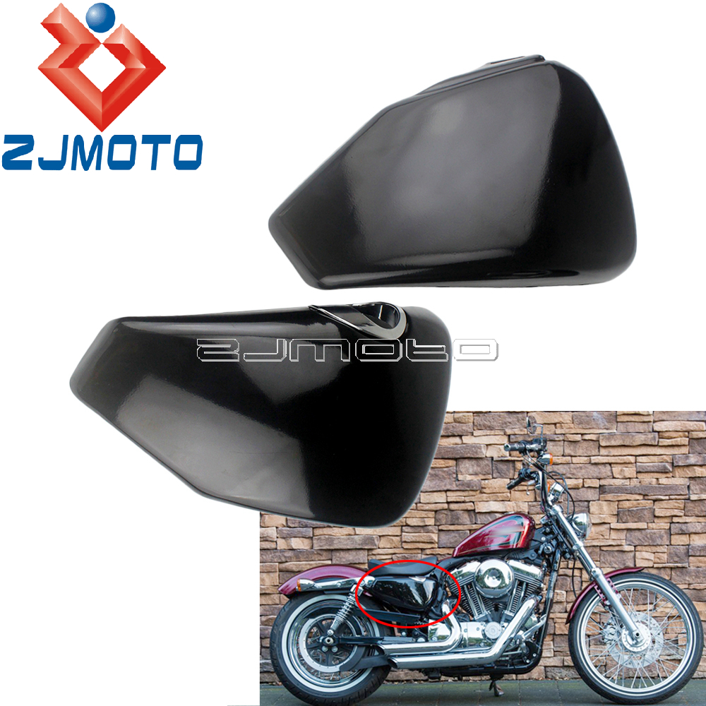 Motorcycle Left Right Side Battery Cover For <font><b>Harley</b></font> Sportster XL883 XL1200 2004-2013 Forty Eight Seventy Two <font><b>Iron</b></font> <font><b>883</b></font> Nightster image
