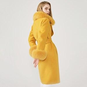 Image 3 - ผู้หญิงเสื้อขนสัตว์ฤดูใบไม้ผลิจริงฟ็อกซ์ขนสัตว์เสื้อขนสัตว์เอวSlimสุภาพสตรียาวOvercoat