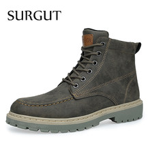 SURGUT Herfst Winter Mannen Laarzen Nieuwe Vintage Stijl Laarzen Mannen Schoenen Casual Fashion High-Cut Lace-up Enkel laarzen Zapatos De Hombre(China)