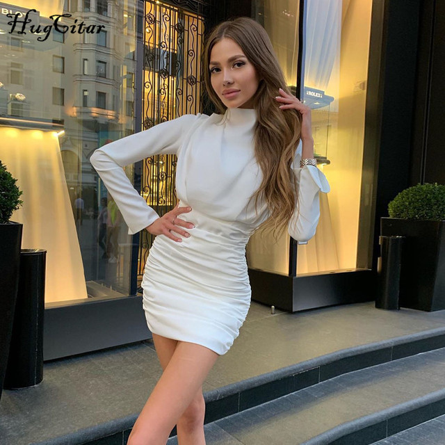 Hugcitar 2020 long sleeve ruched pure sexy mini dress autumn winter women streetwear party outfits clubwear 4
