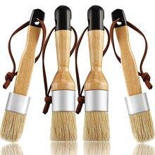 Los pinceles de tiza y cera incluyen pincel de pintura con tizas plano y redondo con cerdas, pinceles multiusos (4 piezas)