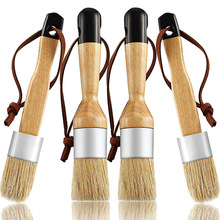 Chalk and Wax Brushes Include Flat and Round Chalked Paint Brush with Bristles, Multi-Use Brushes(4 Pieces)