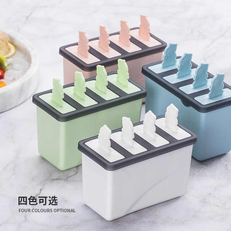Moule à glaces en plastique à 4 trous, plateau à glaçons, moule à Dessert à Dessert moule pour faire soi-même avec bâton