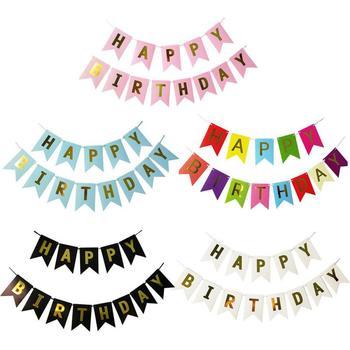 Baner urodzinowy chorągiewki papierowe girlanda banery dekoracja urodzinowa Baby Boy Girl zaopatrzenie firm złoto różowe srebrne zaopatrzenie firm tanie i dobre opinie paper kraft paper Birthday party Support