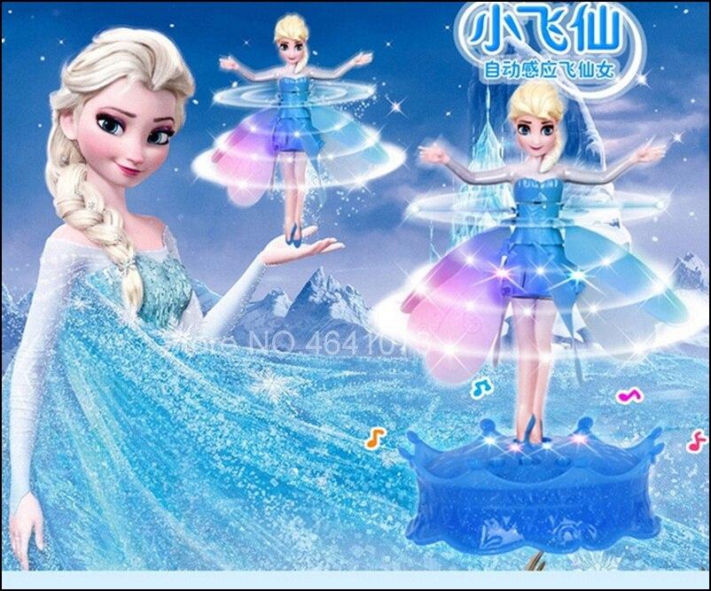 Mais novo flyings princesa elsa com brinquedo de música indução infravermelha controle remoto lols bonecas para meninas