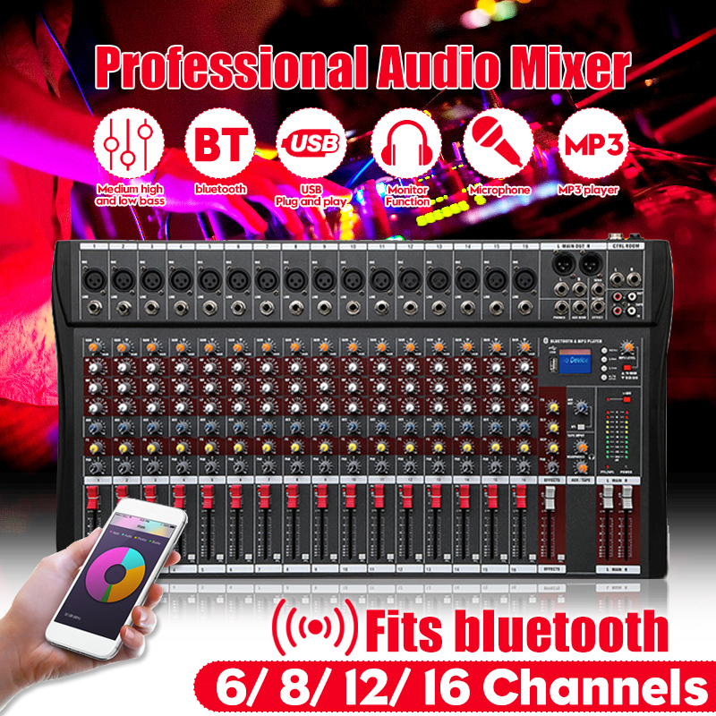 12 Channels Professional Studio Audio Mixer Bluetooth USB Digital DJ Sound Mixing Console 48v Phantom Powers Monitor Amplifier