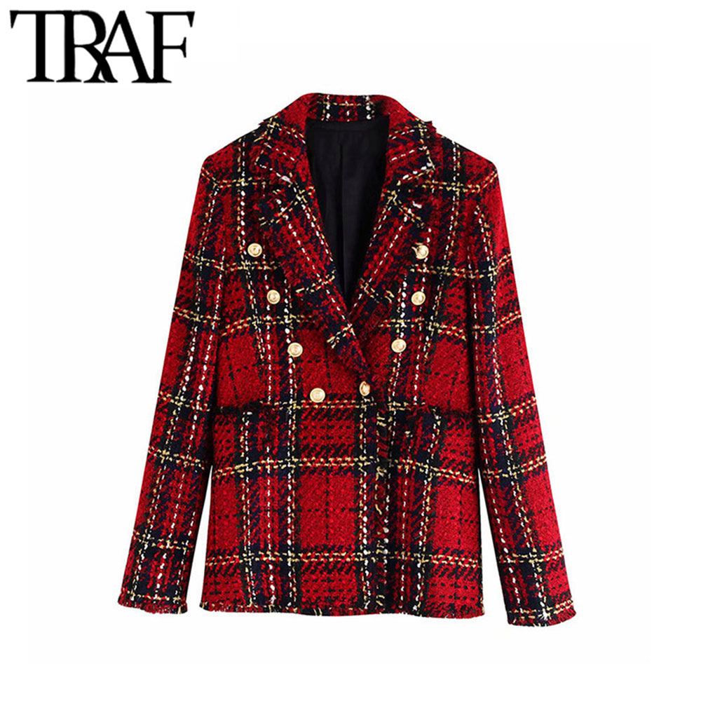 TRAF Women Vintage Stylish Double Breasted Plaid Tweed Blazer Coat Fashion Notched Collar Long Sleeve Female Outerwear Chic Tops