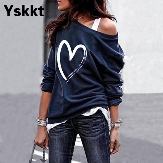 Yskkt Women's Pullover Sweatshirt Heart Printed Long Sleeve One Shoulder Tops Autumn Winter Sweat Shirts Woman Casual Top 1
