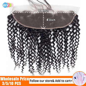 BY Hair 13x4 Lace Frontal Closure Kinky Curly Lace Frontal 8-22inch Ear to Ear Cheveux Humain Remy Hair Swiss Lace Frotnal - Category 🛒 Hair Extensions & Wigs