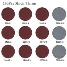 100 pces 3 Polegada 75mm lixa 80-3000 grit lixadeira disco disco discos de corte disco backer conjunto para polimento limpeza ferramenta abrasiva