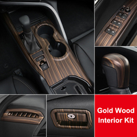 QHCP Gear Shift Panel Rear Air Outlet Cover Armrest Pad Dashboard Strip Knob Stickers Gold Wood Grain For Toyota Camry 2018 2019