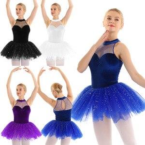 Image 3 - Mulheres vestido de ballet tutu bailarina Brilhante Lantejoula tutu de balé Vestido de Tutu de Balé De Dança Collant Sem Mangas Keyhole Voltar Corpete De Veludo