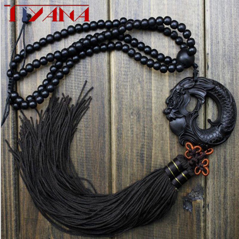 China Black Dragon Statue Beast Wood Carving Crafts Amulets Car Hanging Decoration Buddha Sculpture Wooden Craft Beads WD025