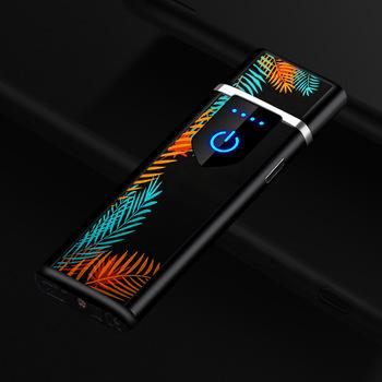 Odcisk palca indukcyjna wiatroodporna zapalniczka bezpłomieniowa ultra-cienkie ładowane z gniazdka zapalniczki USB do papierosów gadżety dla mężczyzn tanie i dobre opinie LCFUN CN (pochodzenie) Metal Lakier F130018 Ultra-thin Windproof Lighter Flameless Lighter Pulsed Lighter USB Lighter Electric Lighter