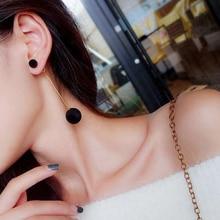 Fashion Earrings Sweet Simple Size Plush Ball Long Temperament