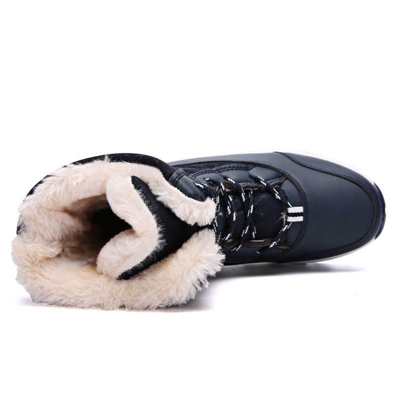 2019 Kadın Kar botları Su Geçirmez kaymaz Ebeveyn-çocuk Kış Çizmeler Kalın Kürk Platformu Su Geçirmez ve sıcak ayakkabı Artı boyutu 31-42